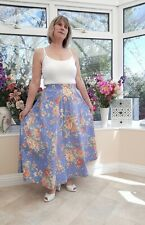 STUNNING *LAURA ASHLEY* BLUE MIX FLORAL FINE COTTON FLARED SKIRT WITH POCKETSM