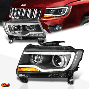 For 11-17 Jeep Compass Dual Projector LED DRL Headlight/Lamp Black Housing Pair