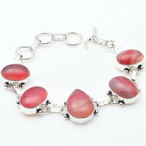 "Pink Lace Onyx Handmade Woman Bracelet 8.2"" Gift Gemstone Jewelry T19940"