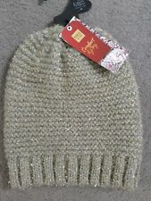 Ladies Marks and Spencer Silver Mix Glitter Knitted Pull on Hat One Size