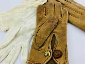 Leather Victorian Child/'s Brown Gloves