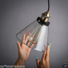 Glass Shade Industrial Retro Fitting Cord Ceiling Pendant Light Lamp Edison Bulb