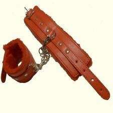 PV Leather RED fur-lined WRIST CUFFS CU-31-RED, FREE  UK DELIVERY
