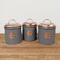 Typhoon Tea Coffee Sugar Canister Jars Set Kitchen Storage Copper Lid 1 Litre