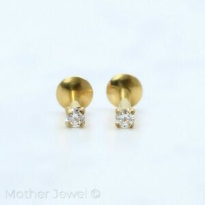 SIMULATED DIAMOND 14K YELLOW GOLD IP CARTILAGE LABRET TRAGUS MONROE STUD EARRING