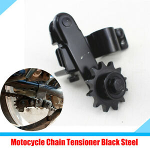 Motorcycle MTB Automatically Adjust Chain Tensioner Circular Tube Black Steel