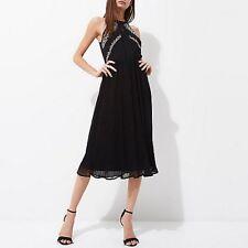 Womens RiverIsland New Elegant Embroidered sheer Black Pleated Dress Size 12
