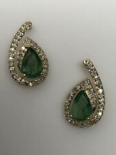 10K Yellow Gold Pear Shape Emerald and 0.15ct twt Diamond Stud Earrings May