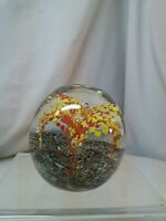 Vtg Hand Blown Glass Art Bubbles Yellow Red Lily Flower Paperweight