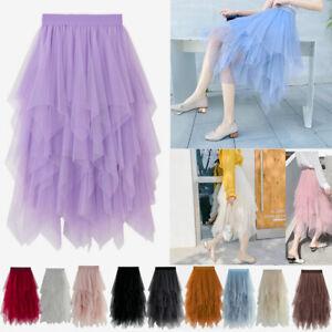 Lady Women Tulle Mesh Skirt High Waist Layers Pleated Maxi Long Dress Skirts