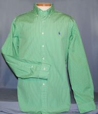Ralph Lauren Men's Dress Shirt Size XL Custom Fit Green & White Striped