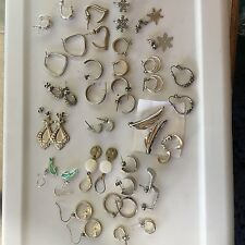 Lot Of 22 Women's Costume Earrings Variety Silver Tone