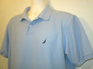 NAUTICA True Deck Shirt Men's Mesh Cotton Polo Shirt Large Blue