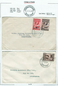 BECHUANALAND PROTECTORATE 1961 QEII 2 COVERS TO SOUTH AFRICA.  A837