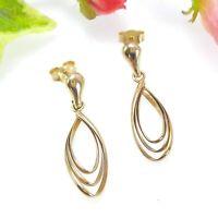 9 CT K Gold Triple Loop Drop Earrings - Hallmarked - 2.7 Grams