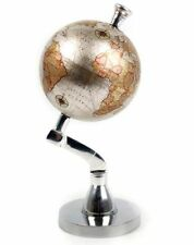 Polished Metal Decorative Rotating Globe World Map 13Cm Diameter