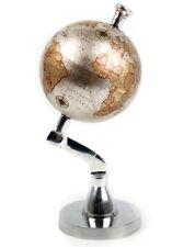 Metallo lucido Decorativa ROTANTE GLOBE WORLD MAP 13cm di diametro
