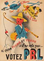 Affiche Originale - Foro - Votez PRL - Politique - France - République - 1947