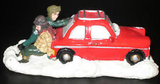 """St Nicholas Square Christmas Village Collection Figure """"Stuck in a Rut"""" Car Snow"""