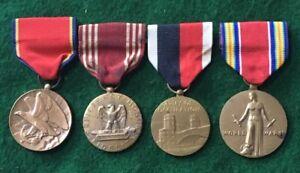WW2 Era Lot of Four (4) US Medals - F - VF+ Condition, USNR, GCM, WW2 VM, Occup