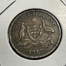 1917 AUSTRALIA SILVER SHILLING BETTER GRADE COIN