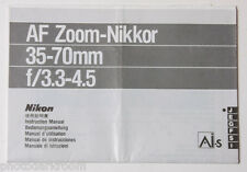 Nikon AF Nikkor 35-70mm 1:3.3-4.5 AIS Instruction Manual Multilingual - USED B38