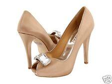 NIB Badgley Mischka ELIA  satin bridal pump heels open toe NUDE brooch shoes 9,5