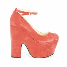 NEW SUEDE CHUNKY THICK DEMI CUT WEDGE HIGH HEEL PLATFORM ANKLE STRAP