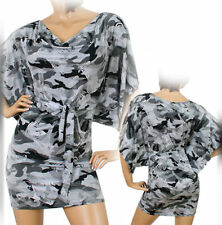 NEW Womens Batwing Shift Sheath Dress Camo Camouflage Pattern Grey Gray Black S