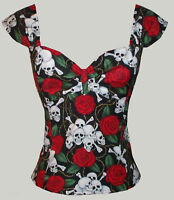 Skulls tattoo Marilyn top rockabilly 50s pin-up Uk 8-20