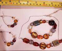 Avon Warm Brown glass bead/stone necklace bracelet and earring set