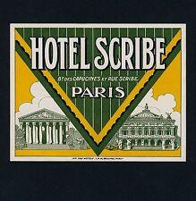 Hotel Scribe PARIS France * Old Luggage Label Kofferaufkleber