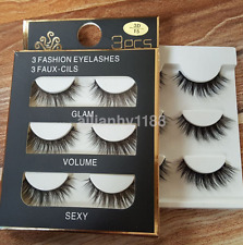3pcs 3D Black 100% Real Mink Natural Cross Long Thick Eye Lashes Fake Eyelashes