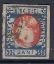 ROMANIA : 1869 Prince Carol 50b red and  blue  SG 78a used