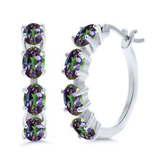 4.00 Ct Oval Green Mystic Topaz 925 Sterling Silver Earrings