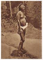 1920s Original Vintage South American Indian Female Risque Photo Gravure
