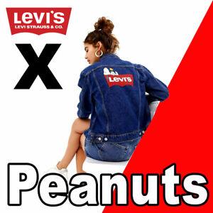 """LIMITED PREMIUM WOMEN'S LEVI'S X PEANUTS SNOOPY TRUCKER JACKET """"BIG E"""" BLUE S"""