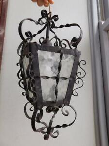 Vintage Wrought Iron Patio Lamp Lantern Electric Light 1950s
