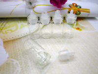 50pcs 1ML Mini Clear Glass Bottle Vials with Plastic Lid 11x22mm Sample Size New