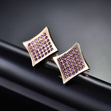 Retro Yellow Gold Filled Diamond Shape Plate Garnet Gemstone Lady Party Earrings