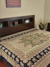 Handmade Cotton Jaipur Bagroo Elephant Tapestry Tablecloth Throw Coverlet Twin