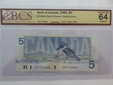 Rare 5$ 1986 GOT7726436 replacement note only 20000 printed BC56-cA