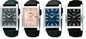 Lorus Classic Rectangular Dial Leather Strap Gents Watch