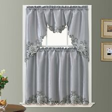 PASSIONATE BLOOM embroidery kitchen curtain with cutworks. GREY