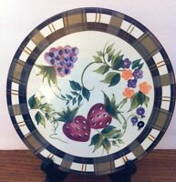 Oneida STRAWBERRY PLAID Hand Painted Trivet 7 7/16 in.