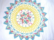 Aqua Blue Pink Yellow Green Colored Handmade Crocheted Thread Round Doily 17""