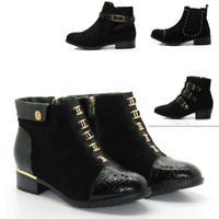 NEW WOMENS AUTUMN LADIES FLAT ZIP LOW HEEL ANKLE BOOTS SHOES SIZES BLACK BIG