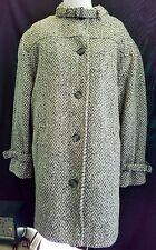 EXC Eddie Bauer Wool Tweed Chevron Vintage Coat XL Gray Pockets Winter Warm