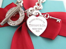 "Tiffany & Co Silver 925 Return To Heart Key Toggle Bracelet 8"""