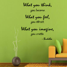 Wall Decals Buddha Quote What You Think Vinyl Sticker Decal Yoga Art Decor KG730